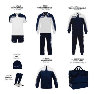 Set complet echipament fotbal Box Platinum Basico, Alb-Bleumarin, GIVOVA