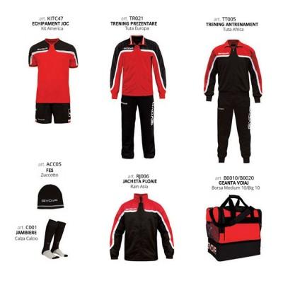 Set complet echipament fotbal Box Platinum Basico, Rosu-Negru, GIVOVA