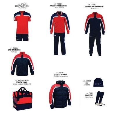 Set complet echipament fotbal Box Platinum, Rosu-Bleumarin, GIVOVA