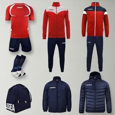 Set complet echipament fotbal Forza, Rosu/Bleumarin, LEGEA