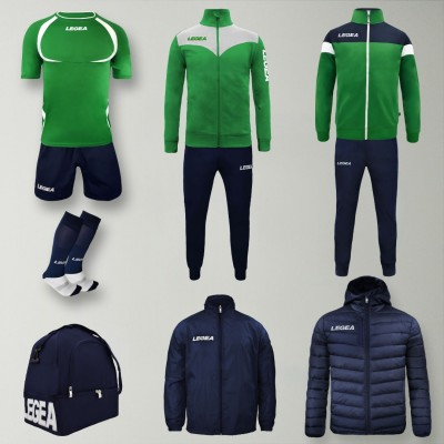 Set complet echipament fotbal Forza, Verde/Bleumarin, LEGEA